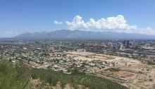 View of the city from the Sentinel Peak summit in Tucson, Arizona